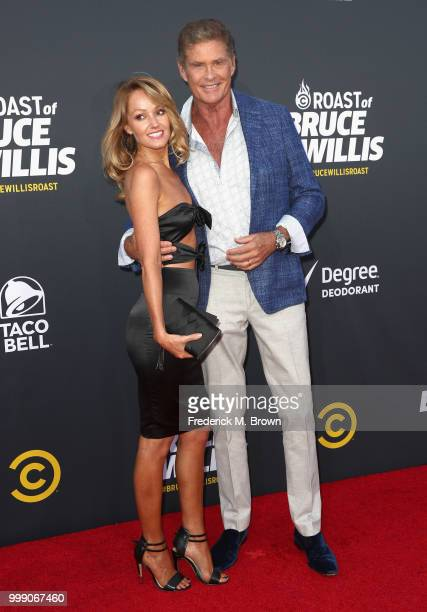 Hayley Roberts and David Hasselhoff attend the Comedy Central Roast of Bruce Willis at Hollywood Palladium on July 14 2018 in Los Angeles California