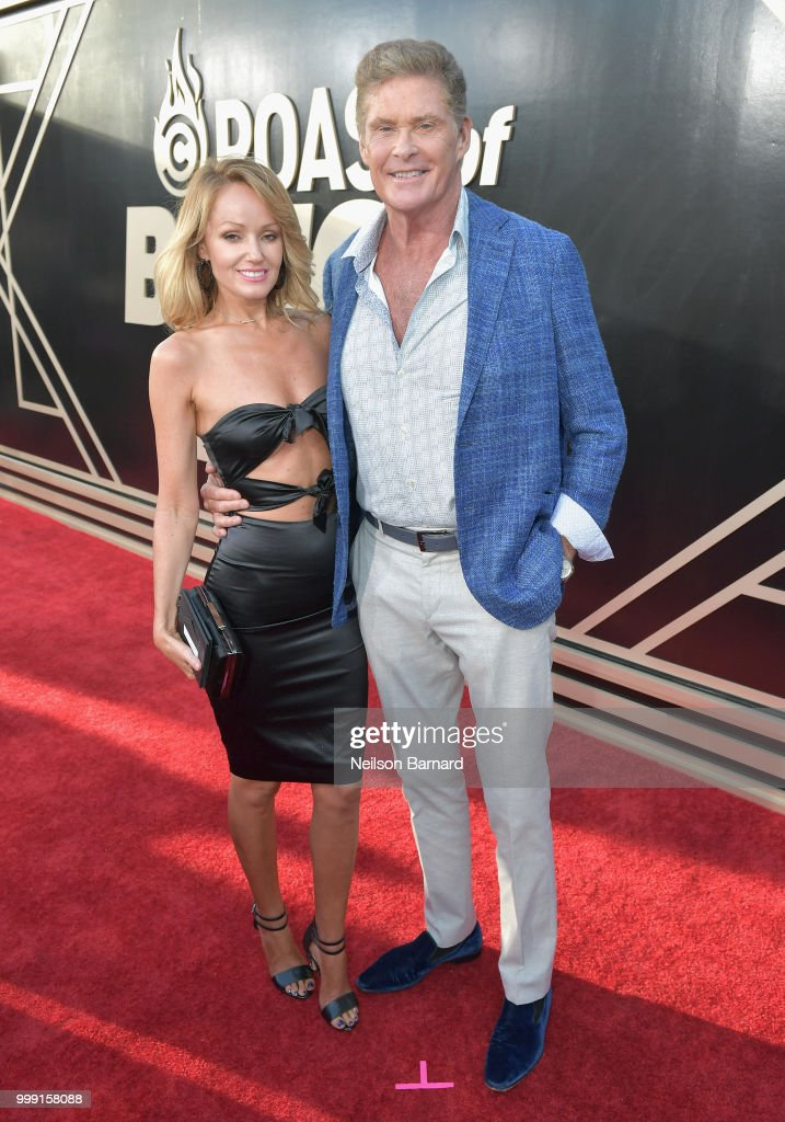 Hayley Roberts (L) and David Hasselhoff attend the Comedy Central Roast of Bruce Willis at Hollywood Palladium on July 14, 2018 in Los Angeles, California.