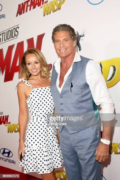 Hayley Roberts and David Hasselhoff attend the Los Angeles Global Premiere for Marvel Studios' 'AntMan And The Wasp' at the El Capitan Theatre on...