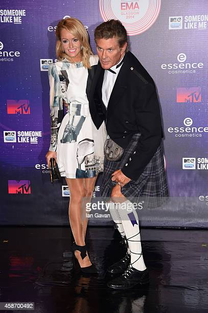 Hayley Roberts and David Hasselhoff attend the MTV EMA's 2014 at The Hydro on November 9 2014 in Glasgow Scotland