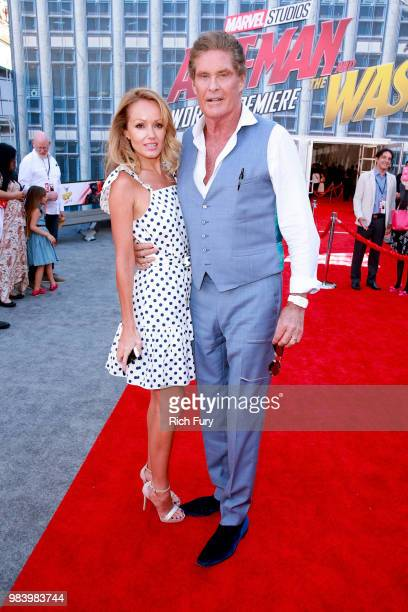 Hayley Roberts and David Hasselhoff attend the premiere of Disney And Marvel's 'AntMan And The Wasp' on June 25 2018 in Hollywood California