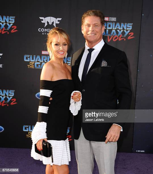 Hayley Roberts and David Hasselhoff attend the premiere of 'Guardians of the Galaxy Vol 2' at Dolby Theatre on April 19 2017 in Hollywood California