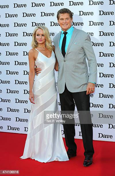 Hayley Roberts and David Hasselhoff attend the UK screening of 'Hoff The Record' at Empire Cinema in Leicester Square on May 20 2015 in London England