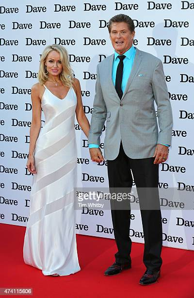"""Hayley Roberts and David Hasselhoff attend the UK screening of """"Hoff The Record"""" at Empire Cinema in Leicester Square on May 20, 2015 in London,..."""