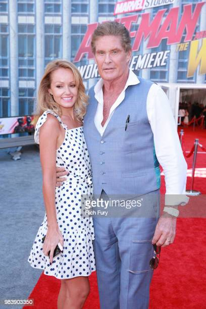 Hayley Roberts and David Hasselhoff attends the premiere of Disney And Marvel's 'AntMan And The Wasp' on June 25 2018 in Los Angeles California
