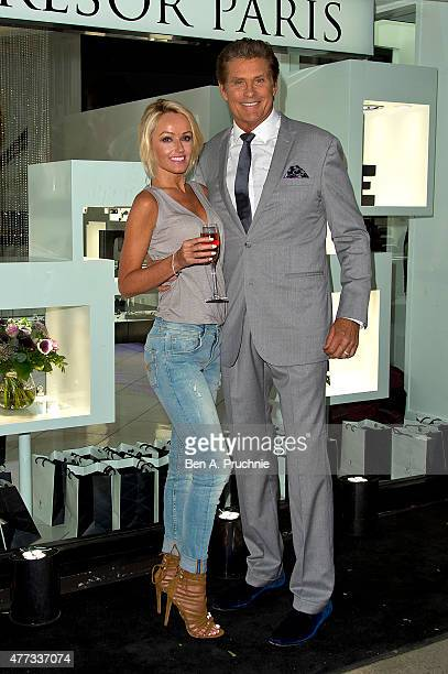 Hayley Roberts and David Hasselhoff attends the Tresor Paris Store launch on June 16 2015 in London England