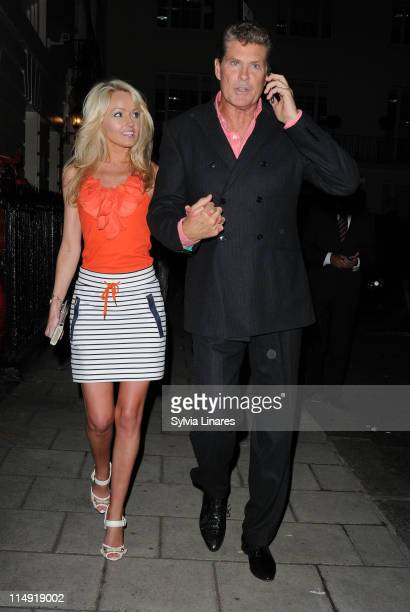 Hayley Roberts and David Hasselhoff leaving The Royal Haymarket Theatre on May 28, 2011 in London, England.