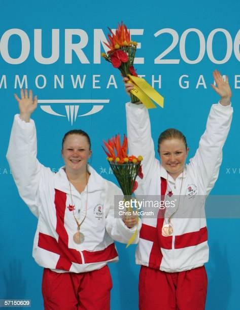 Hayley Sage and Tandi Indergaard of England pose with their Bronze medals on the podium for the Women's Synchronised 3m Springboard Final during the...