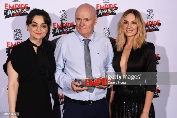 Hayley Squires Dave Johns and Joanne Froggatt pose with the award for Best Male Newcomer in the winners room at the THREE Empire awards at The...