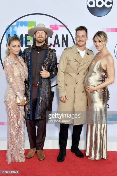 Hayley Stommel Tyler Hubbard Brian Kelley and Brittney Marie Cole attend the 2017 American Music Awards at Microsoft Theater on November 19 2017 in...