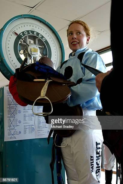 Hayley Strickett on Mangamingi wieghts in after winning of race 4 the Avondale Portage Penninsula Hotel 1600 at Avondale Jockey Club Wednesday Second...