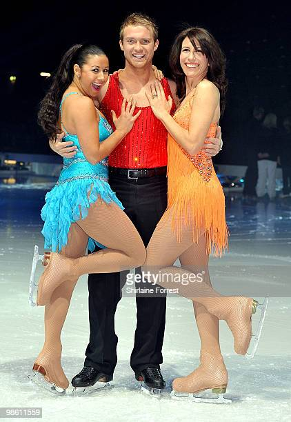 Hayley Tamaddon Chris Fountain and Gaynor Faye attend a photocall for Torvill Dean's 'Dancing On Ice' tour 2010 at MEN Arena on April 22 2010 in...