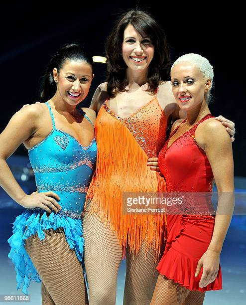 Hayley Tamaddon Gaynor Faye and Brianne Delcourt attend a photocall for Torvill Dean's 'Dancing On Ice' tour 2010 at MEN Arena on April 22 2010 in...