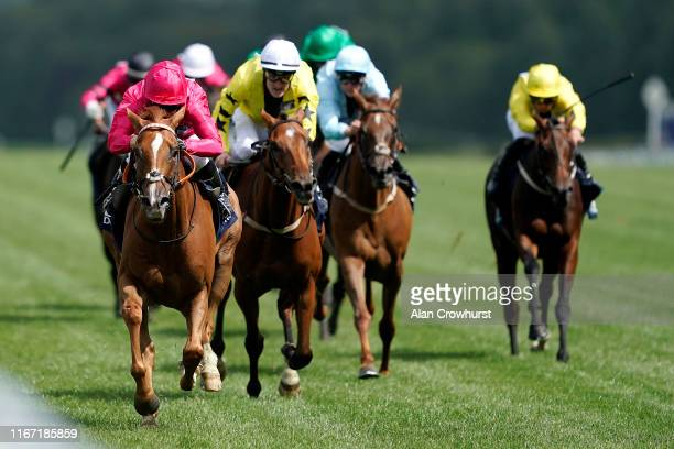 Hayley Turner riding Eddystone Rock win The Dubai Duty Free Shergar Cup Stayers during the Dubai Duty Free Shergar Cup at Ascot Racecourse on August...