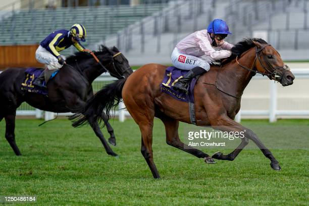 Hayley Turner riding Onassis win The Sandringham Stakes on Day Three of Royal Ascot at Ascot Racecourse on June 18, 2020 in Ascot, England. The Queen...