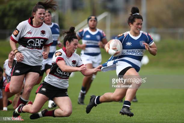 Hayley Utanma of North Harbour tackles Theresa Fitzpatrick of Auckland during the round 4 Farah Palmer Cup match between North Harbour and Auckland...
