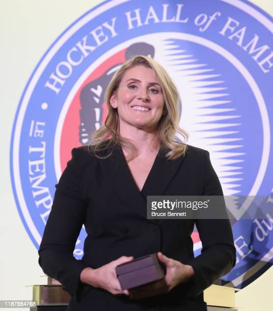 Hayley Wickenheiser attends a photo opportunity for the 2019 Induction Ceremony at the Hockey Hall Of Fame on November 15 2019 in Toronto Ontario...