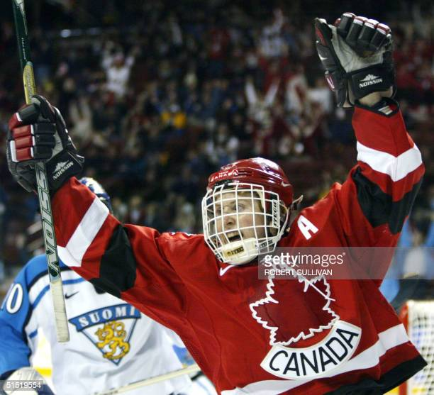 Hayley Wickenheiser of Canada celebrates her goal in the first period of their Women's Ice Hockey SemiFinal game against Finland at the XIX Winter...