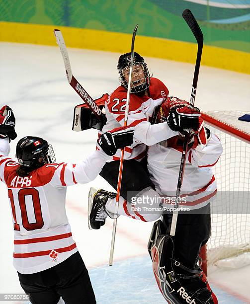 Hayley Wickenheiser of Canada celebrates victory after the ice hockey women's gold medal game between Canada and USA on day 14 of the Vancouver 2010...