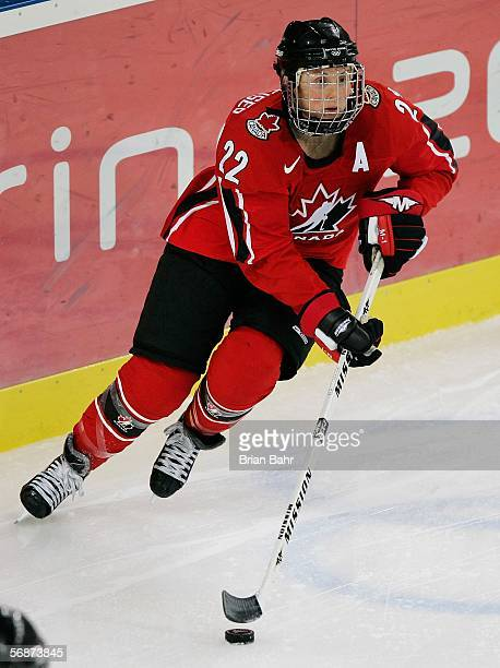 Hayley Wickenheiser of Canada controls the puck during the women's ice hockey semifinals game against Finland on Day 7 of the Turin 2006 Winter...