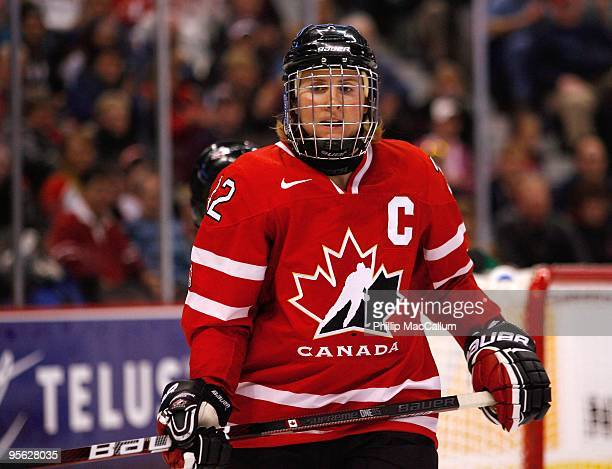 Hayley Wickenheiser of Team Canada looks on during the game against Team USA at Scotiabank Place on January 1 2010 in Ottawa Canada