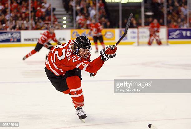 Hayley Wickenheiser of Team Canada shoots the puck during the game against Team USA at Scotiabank Place on January 1 2010 in Ottawa Canada