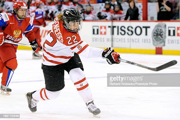 Hayley Wickenheiser of Team Canada shoots the puck during the IIHF Women's World Championship SemiFinal game against Team Russia at Scotiabank Place...