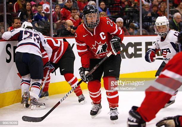 Hayley Wickenheiser of Team Canada skates during the game against Team USA at Scotiabank Place on January 1 2010 in Ottawa Canada