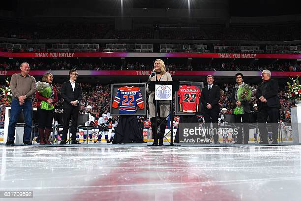Hayley Wickenheiser speaks at her retirement ceremony prior to the game between the Edmonton Oilers and the Calgary Flames on January 14 2017 at...