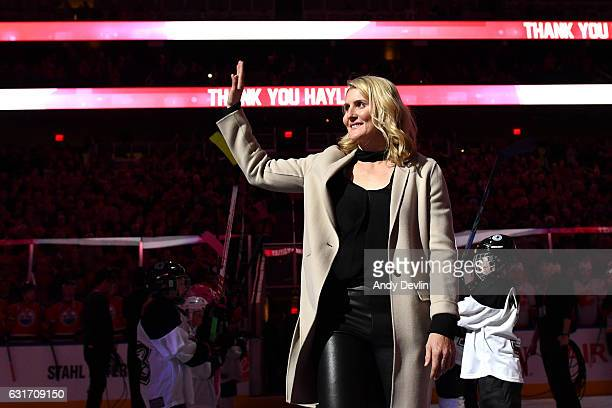 Hayley Wickenheiser walks out onto the ice for her retirement ceremony prior to the game between the Edmonton Oilers and the Calgary Flames on...
