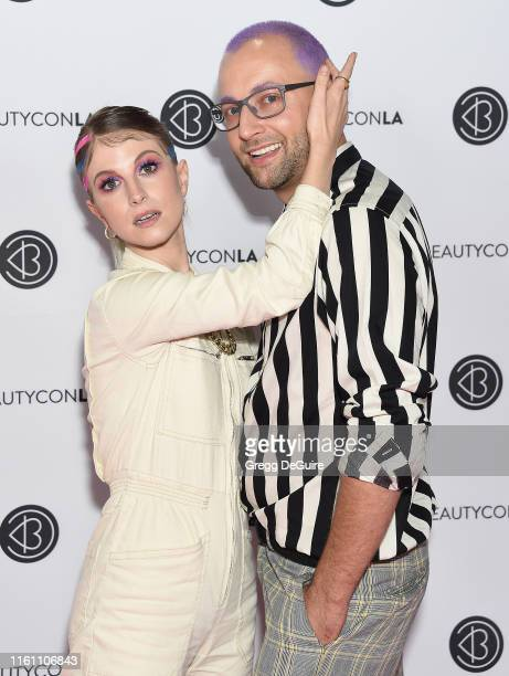 Hayley Williams and Brian O'Connor attend Beautycon Los Angeles 2019 Day 2 Pink Carpet at Los Angeles Convention Center on August 11 2019 in Los...
