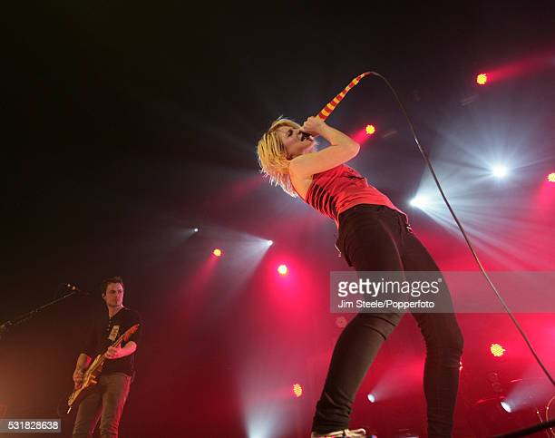 Hayley Williams and Josh Farro of Paramore performing on stage at Wembley Arena in London on the 18th December, 2009.