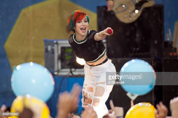 """Hayley Williams of Paramore performs on ABC's """"Good Morning America""""at Rumsey Playfield on June 13, 2014 in New York City."""