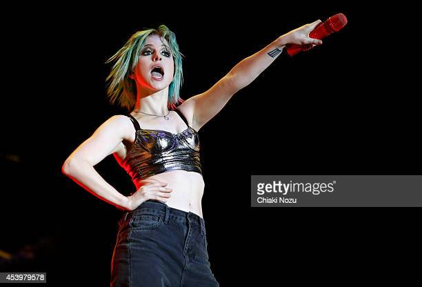 Hayley Williams of Paramore performs on Day 1 of the Reading Festival at Richfield Avenue on August 22 2014 in Reading England