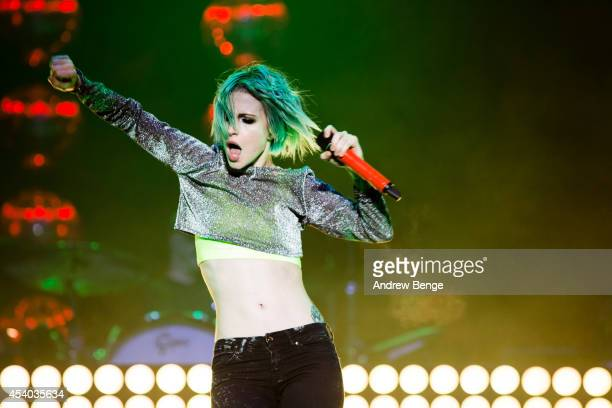 Hayley Williams of Paramore performs on stage at Leeds Festival at Bramham Park on August 23, 2014 in Leeds, United Kingdom.