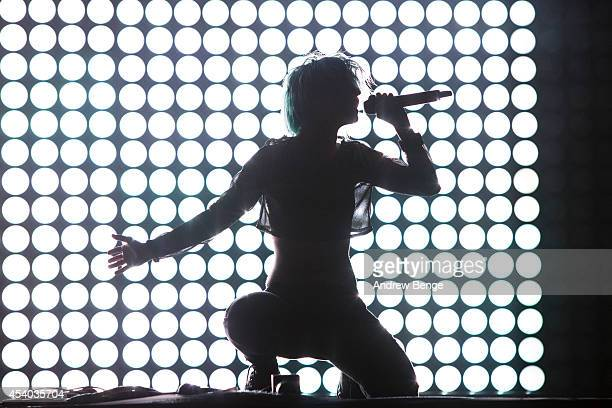 Hayley Williams of Paramore performs on stage at Leeds Festival at Bramham Park on August 23 2014 in Leeds United Kingdom