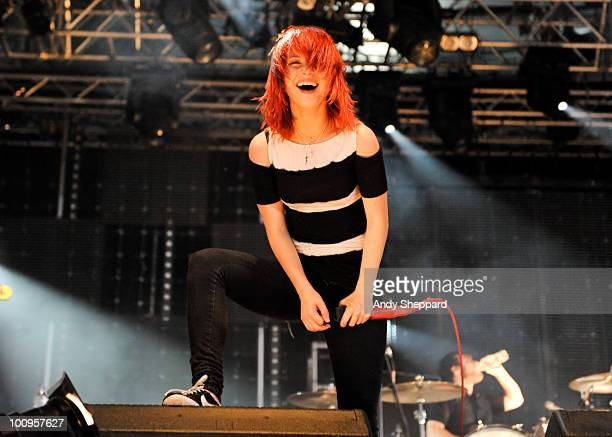 Hayley Williams of Paramore performs on stage during day two of BBC Radio 1's Big Weekend on May 23, 2010 in Bangor, Wales.