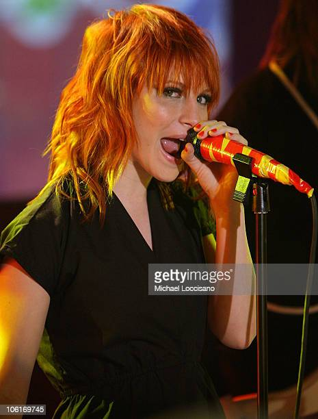 Hayley Williams of Paramore performs on stage during Tila Tequila's MTV New Year's Eve Masquerade party at MTV Times Squre studios on December 31,...