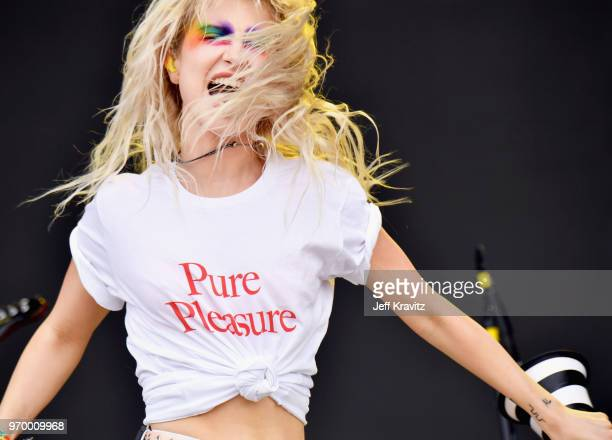 Hayley Williams of Paramore performs on What Stage during day 2 of the 2018 Bonnaroo Arts And Music Festival on June 8, 2018 in Manchester, Tennessee.