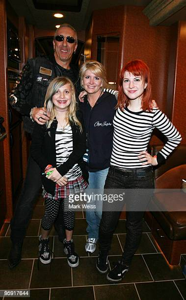 Hayley Williams of Paramore poses backstage with her mother Jennifer Dee Snider singer of Twisted Sister and his daughter Cheyenne Snider at...