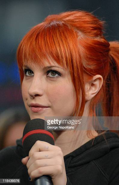 Hayley Williams of Paramore visits MTV'S TRL at MTV in Times Square Studios on May 6 2008 in New York City