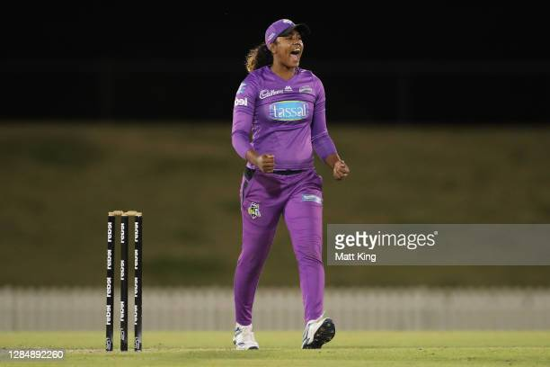 HayleyMatthews of the Hurricanes celebrates taking the wicket of Lizelle Lee of the Renegades during the Women's Big Bash League WBBL match between...