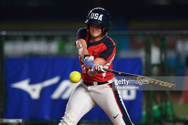 Haylie Ann McCleney of United States hits a single in the fifth inning against Japan during their World Championship Final match at ZOZO Marine...