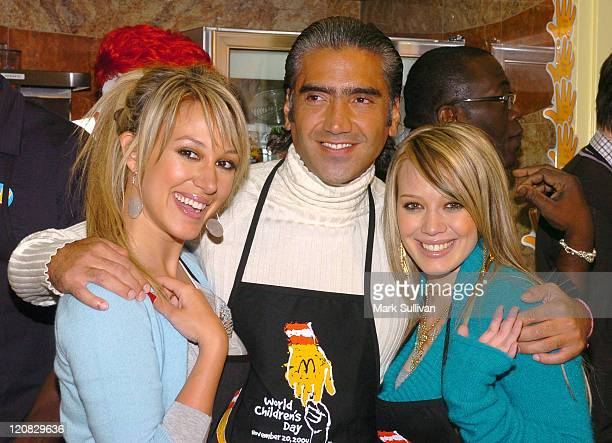 Haylie Duff Alejandro Fernandez and Hilary Duff during McDonald's Kicks Off World Children's Day 2004 at McDonald's store in Los Angeles California...