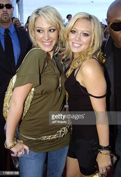 Haylie Duff and Hilary Duff during 2004 MTV Video Music Awards Red Carpet at American Airlines Arena in Miami Florida United States