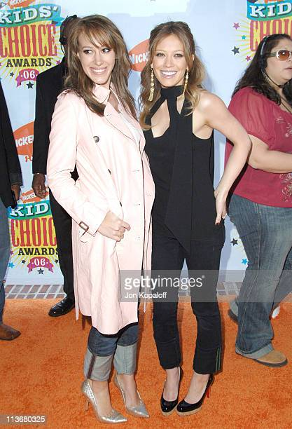 Haylie Duff and Hilary Duff during Nickelodeon's 19th Annual Kids' Choice Awards Arrivals at Pauley Pavillion in West wood California United States