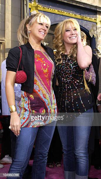 Haylie Duff and Hilary Duff during The Lizzie McGuire Movie Premiere at The El Capitan Theater in Hollywood California United States