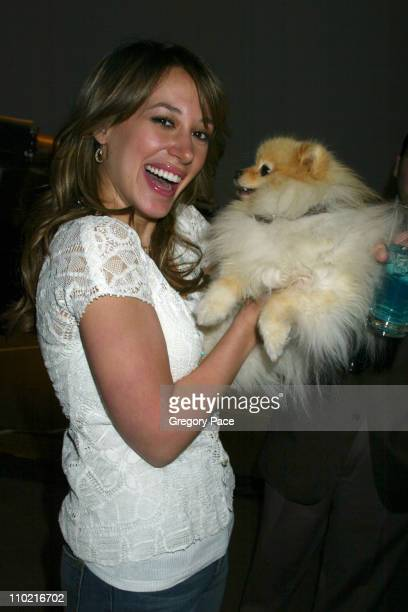 Haylie Duff with her dog Bentley during Hilary Duff and Haylie Duff Launch Ice Breakers Liquid Ice Ad Campaign at Milk Studios in New York City, New...