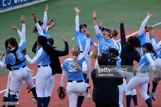 Haylie McCleney of Team Piancastelli celebrates with her teammates after their win against Team Ocasio during the final weekend of the Athletes...