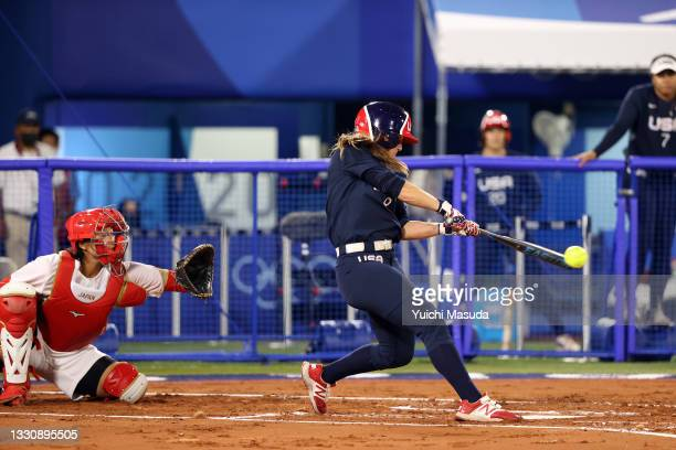 Haylie McCleney of Team United States bats in the first inning against Team Japan during the Softball Gold Medal Game between Team Japan and Team...